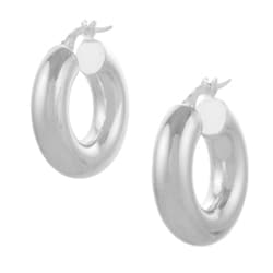 Tressa Italian Sterling Silver Thick Hoop Earrings