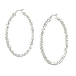 Tressa Italian Sterling Silver Textured Hoop Earrings
