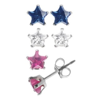 Journee Collection Sterling Silver 4-mm CZ Star Earrings (Case of 3)