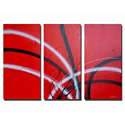 Hand-painted 'Crimson Glow' Canvas Art