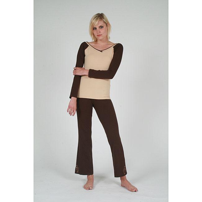 Yogacara Women's Brown Boot-Cut Pants