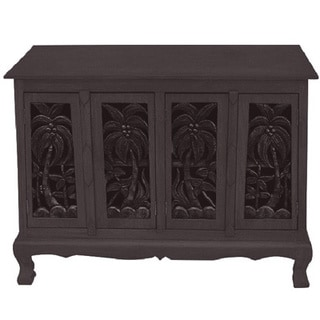 Handmade Acacia Wood Palm Tree Carved Cabinet (Thailand)