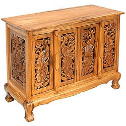 Hand-carved Peacocks Storage Cabinet/ Sideboard Buffet
