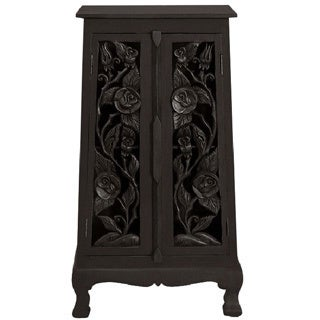 Hand-carved Vintage Roses 40-inch Storage Cabinet (Thailand)