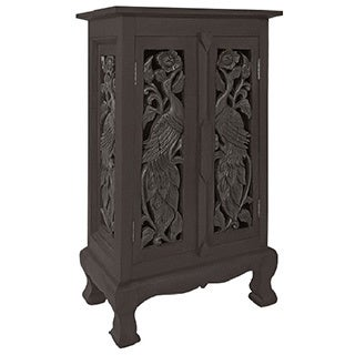 Hand-carved Birds Storage Cabinet/ End Table
