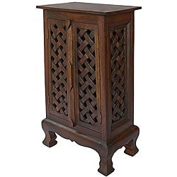 Hand-carved Lattice Design 32-inch Storage Cabinet