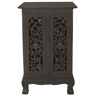 Handmade Floral and Vine Carved Cabinet with Dark Walnut Finish (Thailand)