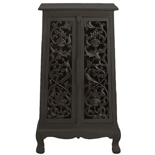 Hand-carved Flowers and Vines Storage Cabinet