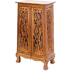 Hand-carved Bamboo Tree 40-inch Storage Cabinet