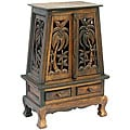 Hand-carved Palm Trees Storage Cabinet/ End Table
