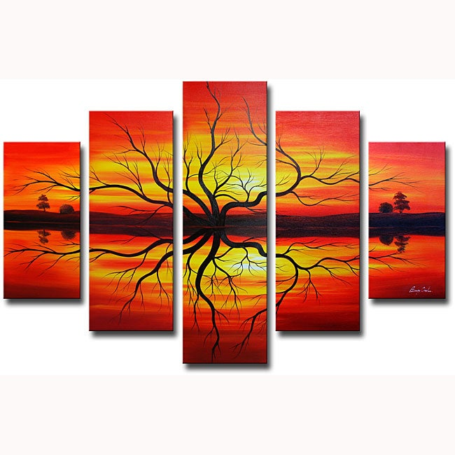 'Sunset Reflections' Hand-painted Canvas Art