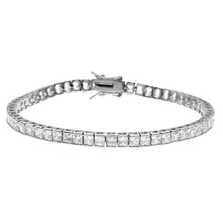 Simon Frank 5.94 Equal Diamond Weight 14k WG Overlay CZ Princess Cut Tennis Bracelet