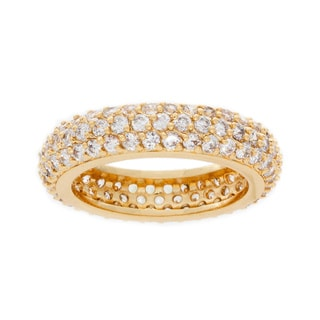 Nexte 14k Gold over Silver Stackable CZ Cupola Eternity Band