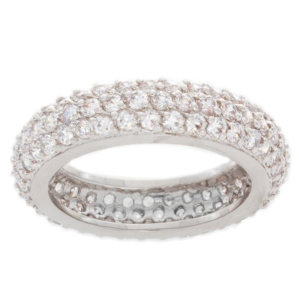 Nexte 14k White Gold over Silver CZ Cupola Eternity Band