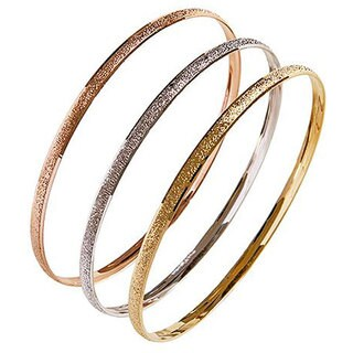 Nexte TexturedTri-color 'Fin de Semana' Bangle Bracelets (Set of 3)