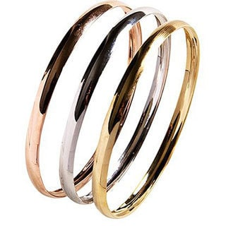 Nexte PolishedTri-color Stackable 'Fin de Semana' Bangle Bracelets (Set of 3)