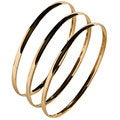Nexte Polished Goldtone Stackable 'Fin de Semana' Bangle Bracelets (Set of 3)