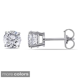 14k White Gold 1 1/2ct TDW Certified Round Diamond Stud Earrings (G-H, I1-I2)
