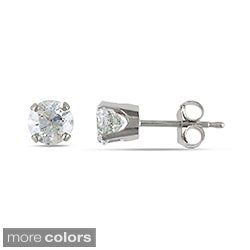 14k Gold 1ct TDW Round Diamond Solitaire Stud Earrings
