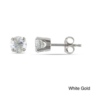 Miadora 14k White/Yellow Gold 1ct TDW Round Diamond Stud Earrings (J-K, I2-I3)