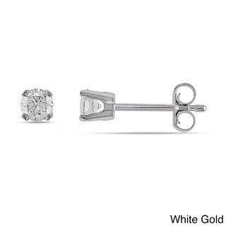 Miadora 14k White/Yellow Gold 1/3ct Round Diamond Stud Earrings