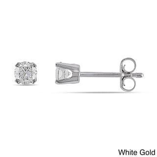 Miadora 14k Gold 1/3ct TDW Round Diamond Stud Earrings (J-K, I2-I3)