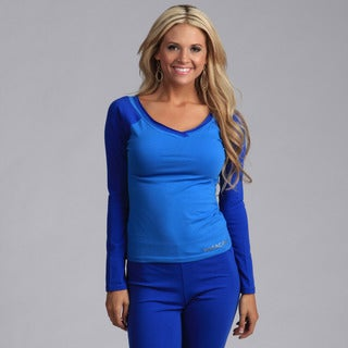 Yogacara Women's Blue/Royal Wide-Neck Top