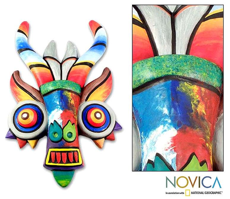 Ceramic 'Rainbow Demon' Mask (Peru)