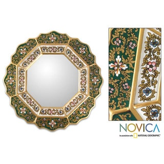 Handcrafted 'Green Star' Mirror (Peru)