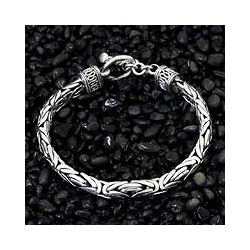 Sterling 'Silver Dragon' Men's Bracelet (Indonesia)