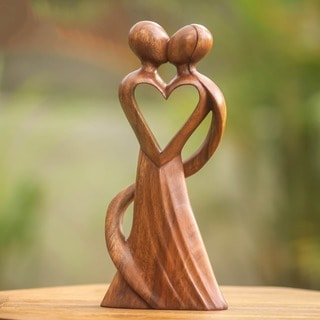 Wood 'My Heart and Yours' Statuette (Indonesia)