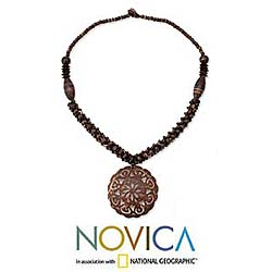 Coconut Shell 'Floral Medallion' Necklace (Thailand)
