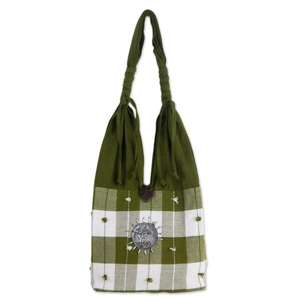 Cotton 'Green Plaid Elephant' Handbag (Thailand)