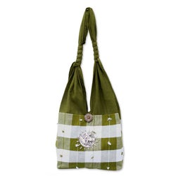 Cotton 'Green Plaid Elephant' Handbag (Thailand)