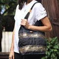 Cotton 'Black Elephant Parade' Shoulder Bag (Thailand)