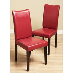 Shino Red Bi-cast Leather Dining Chairs (Set of 2)