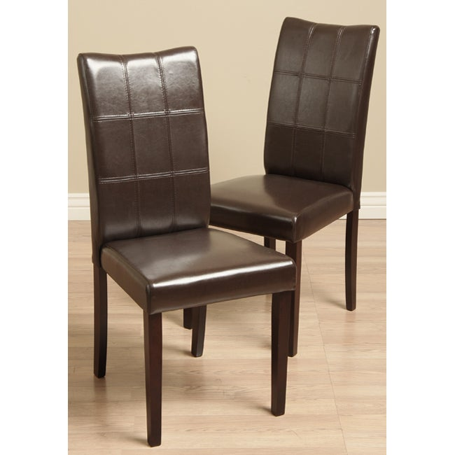 Eveleen Bi-cast Leather Brown Dining Chairs (Set of 2)