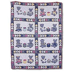 Blue Teddy Bear Quilted Throw