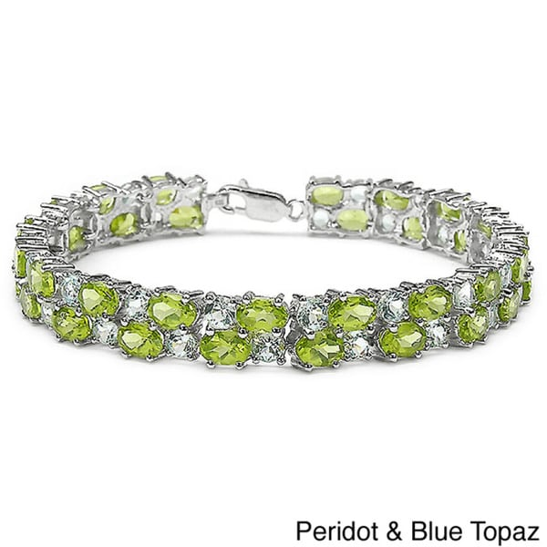 Malaika Sterling Silver Gemstone 2-row Bracelet