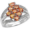 Malaika Sterling Silver Orange Sapphire Diamond Ring