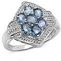 Malaika Sterling Silver Blue Sapphire Cluster Ring
