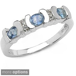 Malaika Silver Genuine Sapphire and White Topaz Ring