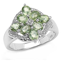 Malaika Silver Genuine Green Sapphire and Diamond Ring