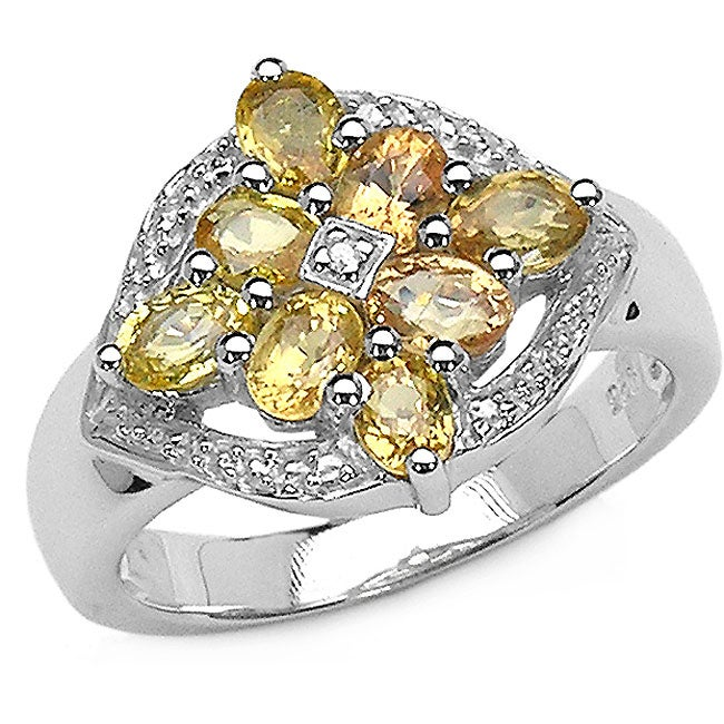 Malaika Sterling Silver Yellow Sapphire and Diamond Ring