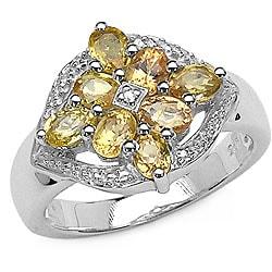 Malaika Sterling Silver Yellow Sapphire and Diamond Ring