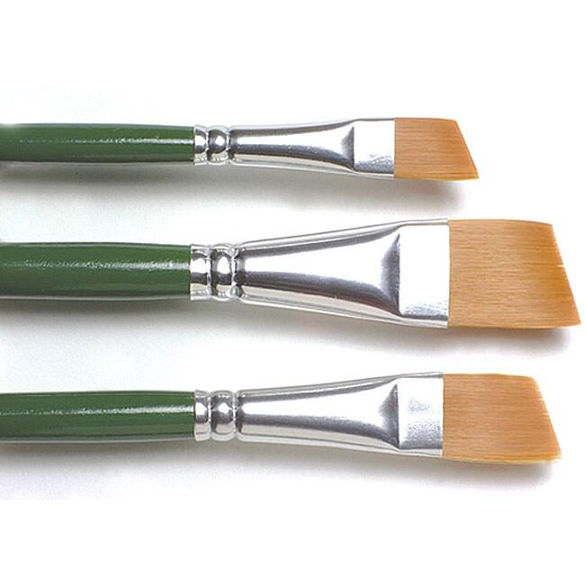 Indispensable One-stroke Gold-Nylon Paint Brush Set with Angular Tips