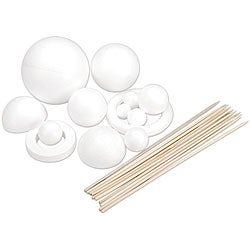 Paintable Styrofoam White Solar System Kit with Rods and Eyelet Screw
