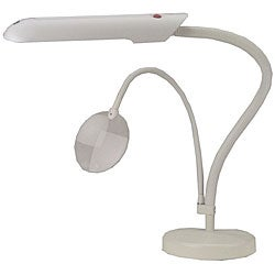 White Tabletop Craft Lamp with Angle-flexible Arms on a Table Base