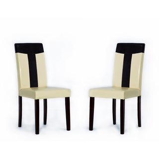 Tiffany Bi-Cast Leather Oak/ Brown Dining Chair (Set of 2)