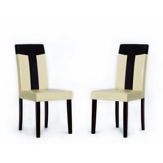 Tiffany Bi-Cast Leather Oak/ Brown Dining Chair (Set of 2)